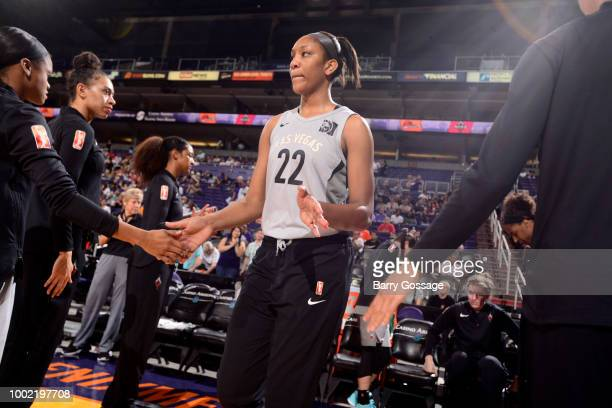 A'ja Wilson of the Las Vegas Aces is introduced prior to the game against the Phoenix Mercury on July 19 2018 at Talking Stick Resort Arena in...