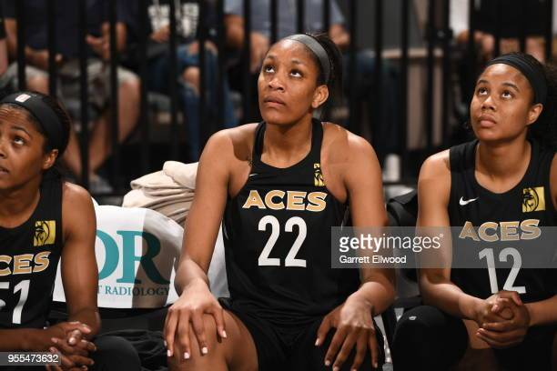 A'ja Wilson of the Las Vegas Aces looks on before the game against the China National Team in a WNBA preseason game on May 6 2018 at the Mandalay Bay...