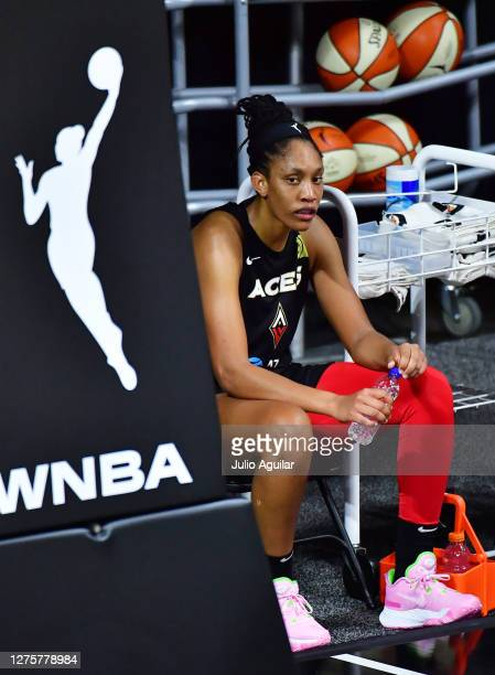 A'ja Wilson of the Las Vegas Aces looks on during a timeout in the second half against the Connecticut Sun in Game 2 of their Third Round playoffs at...