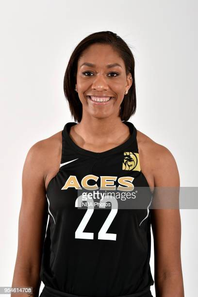 A'ja Wilson of the Las Vegas Aces poses for a head shot at WNBA Media Day at MGM Grand Garden Arena on May 3 2018 in Las Vegas Nevada NOTE TO USER...