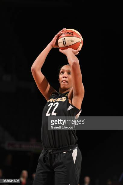 A'ja Wilson of the Las Vegas Aces shoots a free throw against the China National Team in a WNBA preseason game on May 6 2018 at the Mandalay Bay...