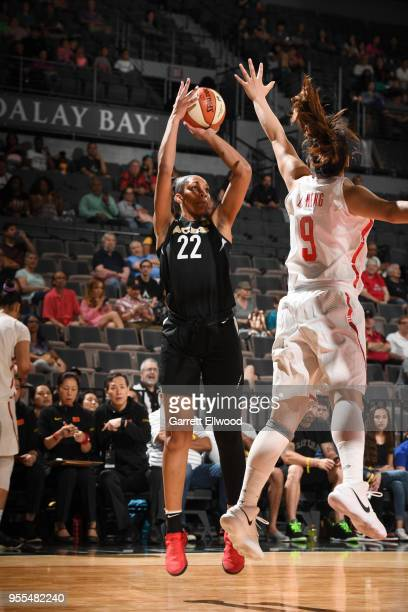 A'ja Wilson of the Las Vegas Aces shoots the ball against the China National Team in a WNBA preseason game on May 6 2018 at the Mandalay Bay Events...