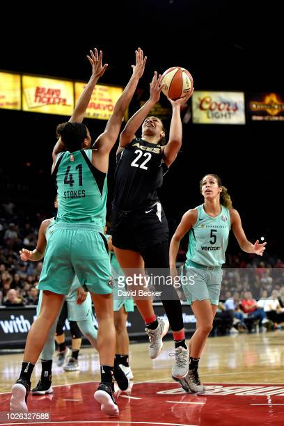 A'ja Wilson of the Las Vegas Aces shoots the ball against the New York Liberty on August 15 2018 at the Allstate Arena in Chicago Illinois NOTE TO...