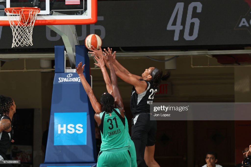 A'ja Wilson #22 of the Las Vegas Aces shoots the ball against the New York Liberty on June 13, 2018 at Westchester County Center in White Plains, New York.