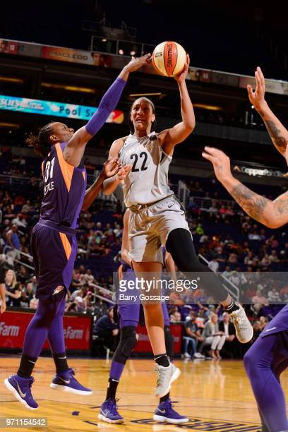 A'ja Wilson of the Las Vegas Aces shoots the ball against the Phoenix Mercury on June 10 2018 at Talking Stick Resort Arena in Phoenix Arizona NOTE...
