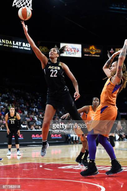 A'ja Wilson of the Las Vegas Aces shoots the ball against the Phoenix Mercury on June 17 2018 at the Mandalay Bay Events Center in Las Vegas Nevada...