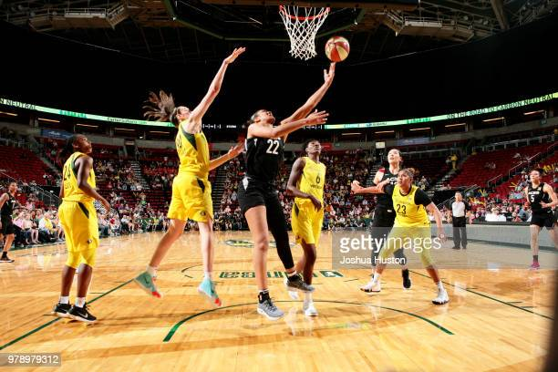 A'ja Wilson of the Las Vegas Aces shoots the ball against the Seattle Storm on June 19 2018 at KeyArena in Seattle Washington NOTE TO USER User...