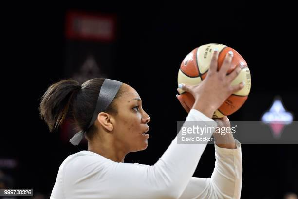 Odyssey Sims of the Los Angeles Sparks handles the ball against the Las Vegas Aces on July 15 2018 at the Mandalay Bay Events Center in Las Vegas...