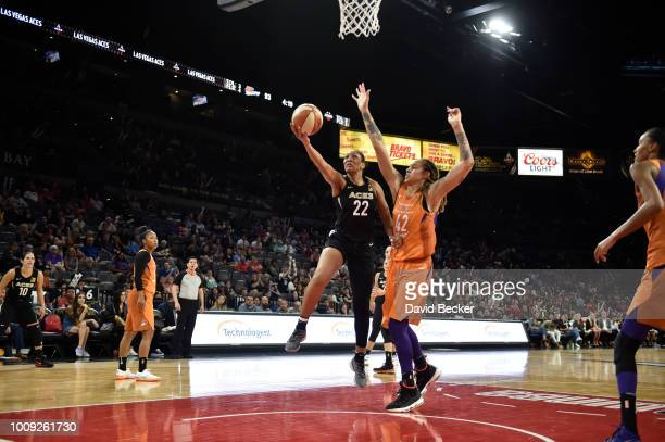 A'ja Wilson of the Las Vegas Aces shoots the ball during game against the Phoenix Mercury on August 1 2018 at the Mandalay Bay Events Center in Las...