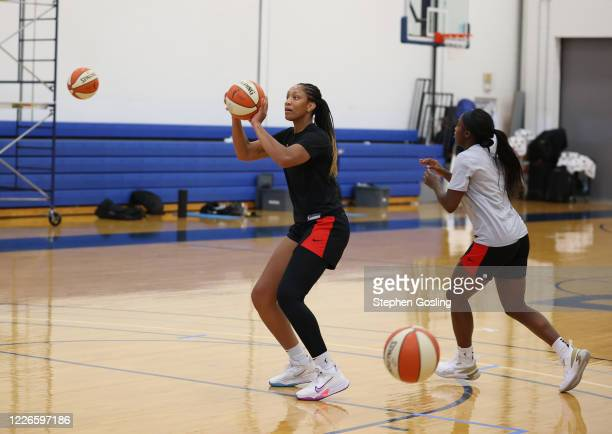 Ja Wilson of the Las Vegas Aces shoots the ball during practice on July 12, 2020 at IMG Academy in Bradenton, Florida. NOTE TO USER: User expressly...