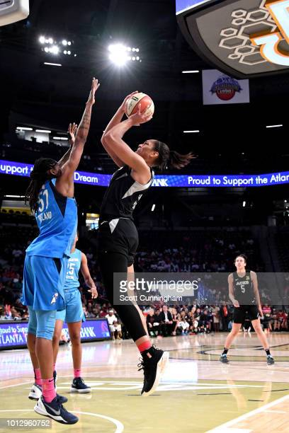 A'ja Wilson of the Las Vegas Aces shoots the ball during the game against the Atlanta Dream on August 07 2018 at McCamish Pavilion in Atlanta Georgia...