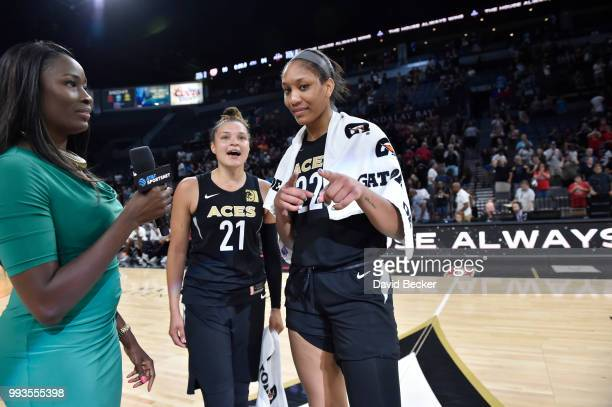 A'ja Wilson of the Las Vegas Aces talks to the media following the game against the Connecticut Sun on July 7 2018 at the Mandalay Bay Events Center...