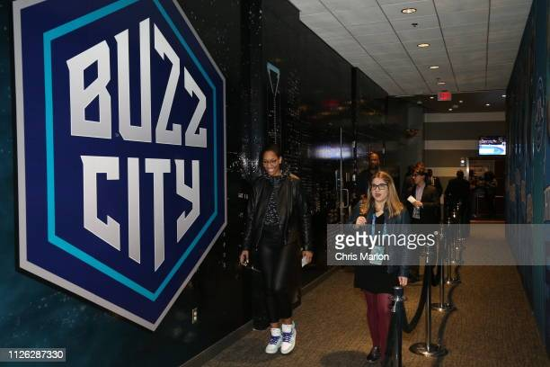 Ja Wilson of the Las Vegas Aces walks the tunnel prior to the 2019 NBA AllStar Game on February 17 2019 at the Spectrum Center in Charlotte North...