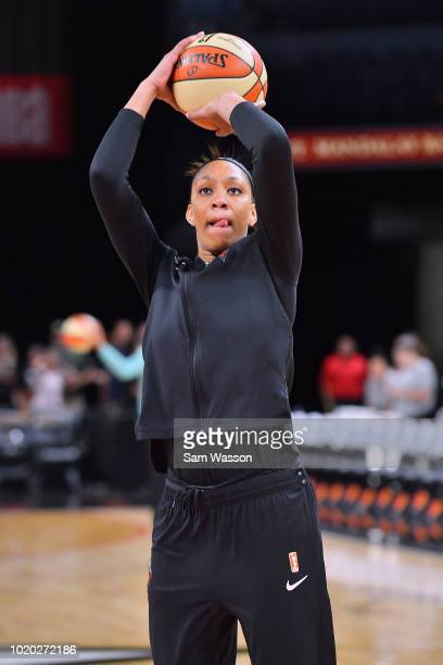 A'ja Wilson of the Las Vegas Aces warms up before her team's game against the New York Liberty at the Mandalay Bay Events Center on August 15 2018 in...