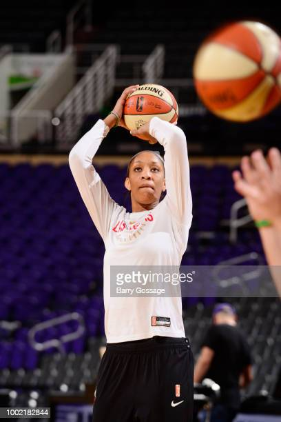 A'ja Wilson of the Las Vegas Aces warms up prior to the game against the Phoenix Mercury on July 19 2018 at Talking Stick Resort Arena in Phoenix...
