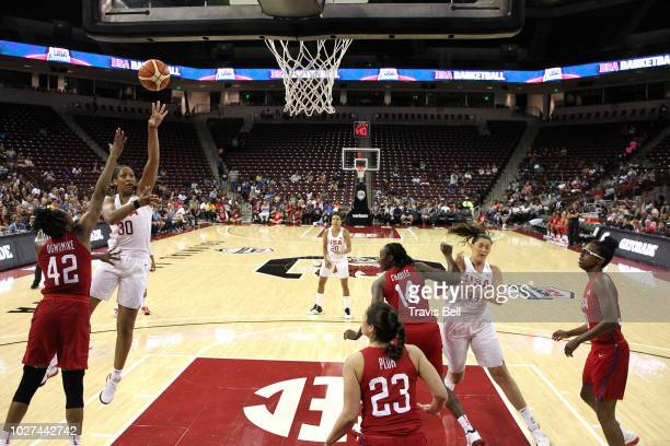 A'ja Wilson of USA White shoots the ball against USA Red during an exhibition game on September 5 2018 at the University of South Carolina in...