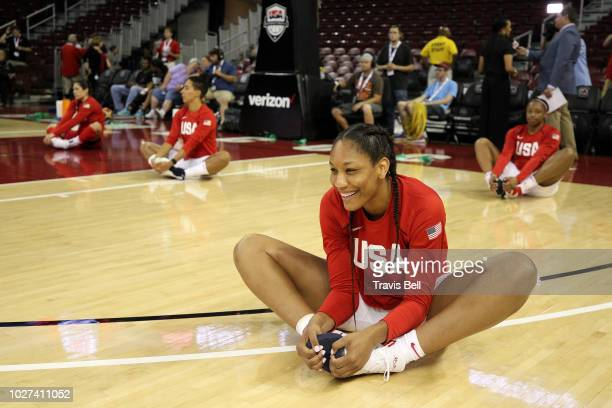 Ja Wilson of USA White stretches before the game against the USA Red during an exhibition game on September 5, 2018 at the University of South...