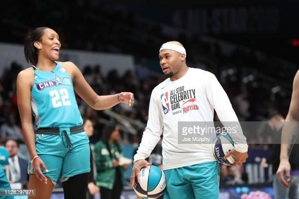 A'ja Wilson Steve Smith Jr #89 looks on during the 2019 NBA AllStar Celebrity Game on February 15 2019 at Bojangles Coliseum in Charlotte North...