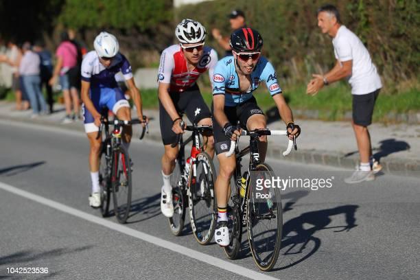 Jaakko Hanninen of Finland / Marc Hirschi of Switzerland / Bjorg Lambrecht of Belgium / during the Men Under 23 Road Race a 179,9km race from...
