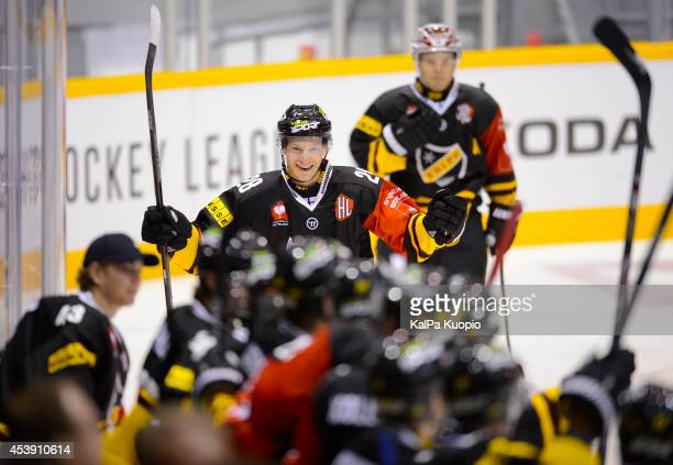 Jaakko Rissanen celerates his first goal in the game for 32 for the home team during the Champions Hockey League game between KalPa Kuopio and Sparta...