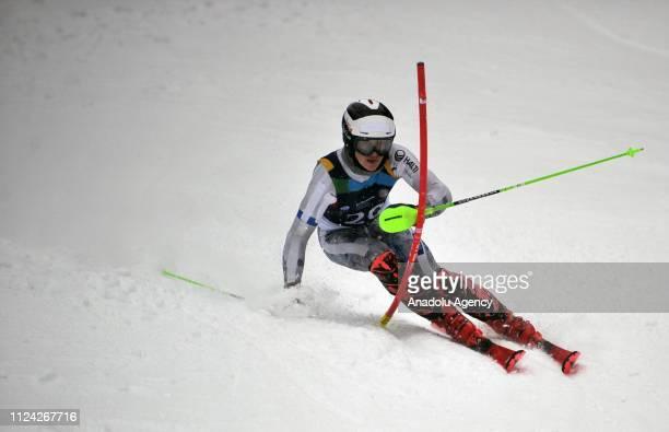 Jaakko Tapanainen of Finland competes in Alpine Skiing slalom held within the 2019 EYOF at Jahorina Mountain in Sarajevo, Bosnia and Herzegovina on...
