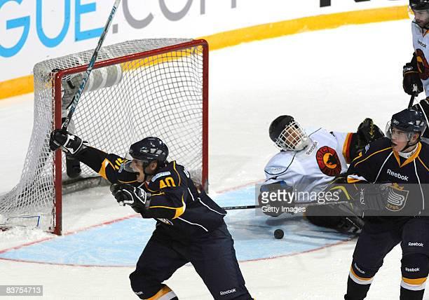 Jaakko Uhlback of Espoo Blues celebrates after a goal during the IIHF Champions Hockey League match between Espoo Blues and SC Bern on November 19,...