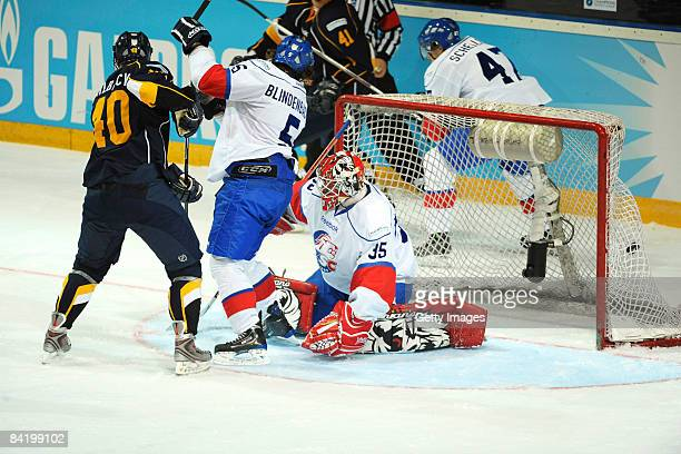 Jaakko Uhlback of Espoo Blues makes the first goal during the IIHF Champions Hockey League semi-final match between Espoo Blues and ZSC Lions Zurich...