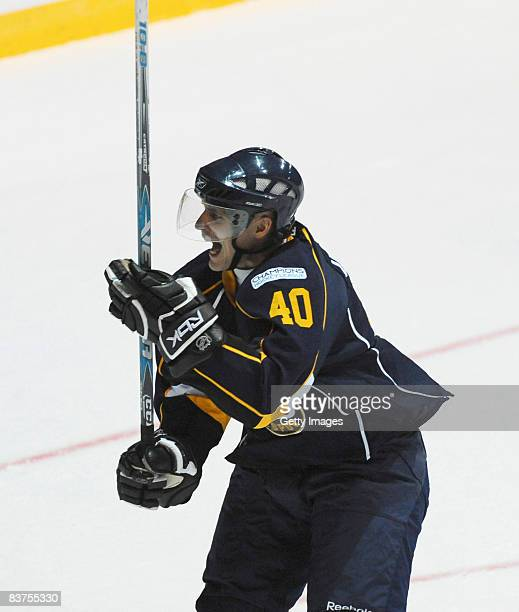 Jaakko Uhlback of Espoo Blues of Espoo Blues celebrates after the second goal during the IIHF Champions Hockey League match between Espoo Blues and...