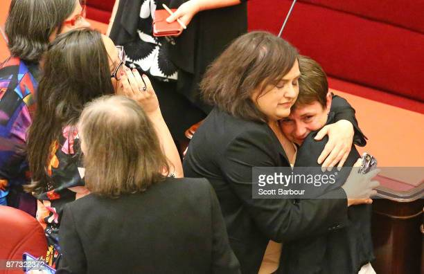 Jaala Pulford is congratulated as the bill passes inside of the Parliament of Victoria after the Upper House voted to pass historic euthanasia laws...