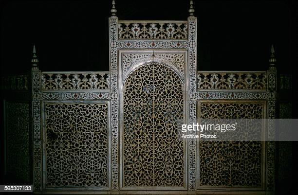 A jaali filigree screen in the Taj Mahal Agra India circa 1965