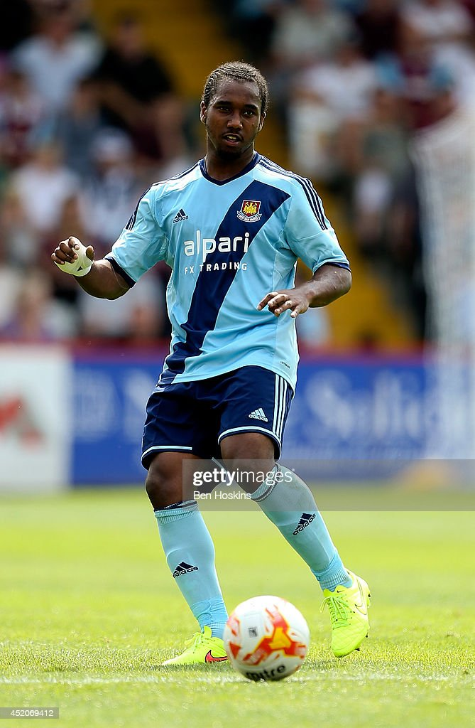 Jaanai Gordon of West Ham in action during the Pre Season Friendly match between Stevenage and West Ham United at The Lamex Stadium on July 12, 2014 in Stevenage, England.