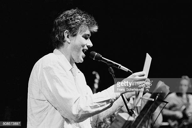 Jaap Blonk, voice, performs with Splinks at the BIM Huis on 2nd December 1994 in Amsterdam, Netherlands.