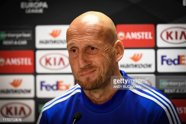Jaap Stam Dutch football manager of Feyenoord club gives a press conference ahead of the Europa League match against the Rangers at Ibrox Stadium...