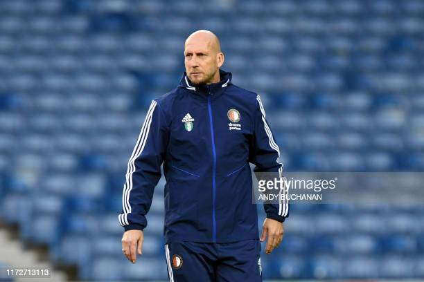 Jaap Stam Dutch football manager of Feyenoord club supervises a training session ahead of the Europa League match against the Rangers at Ibrox...