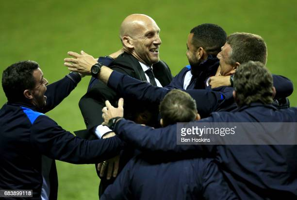 Jaap Stam Manager of Reading celebrates after the Sky Bet Championship Play Off Second Leg match between Reading and Fulham at Madejski Stadium on...