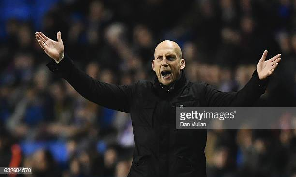 Jaap Stam manager of Reading during the Sky Bet Championship match between Reading and Fulham at Madejski Stadium on January 24 2017 in Reading...