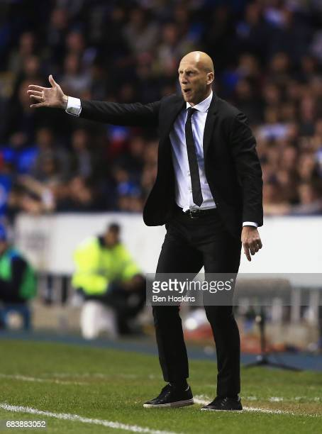 Jaap Stam Manager of Reading gives his team instructions during the Sky Bet Championship Play Off Second Leg match between Reading and Fulham at...