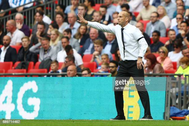 Jaap Stam Manager of Reading gives his team instructions during the Sky Bet Championship play off final between Huddersfield and Reading at Wembley...