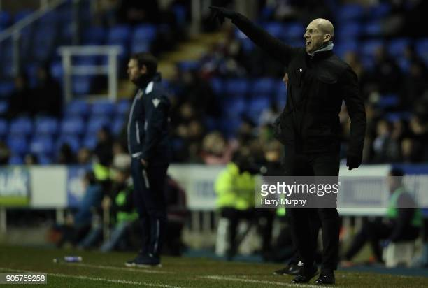 Jaap Stam Manager of Reading issues instructions to his players during the Emirates FA Cup Third Round Replay match between Reading and Stevenage at...