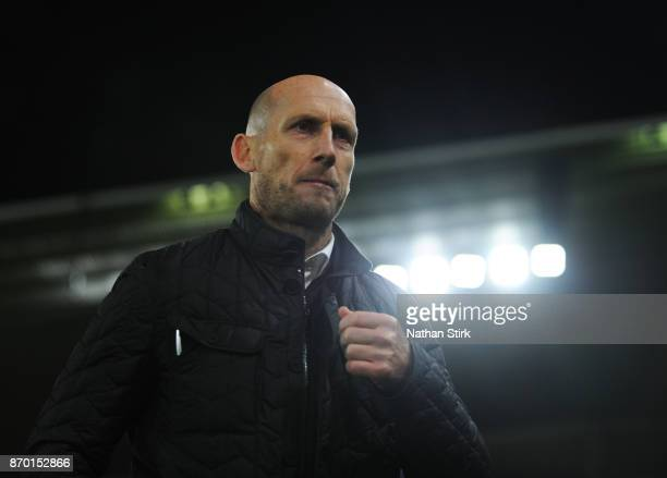 Jaap Stam manager of Reading looks on after the Sky Bet Championship match between Derby County and Reading at iPro Stadium on November 4 2017 in...