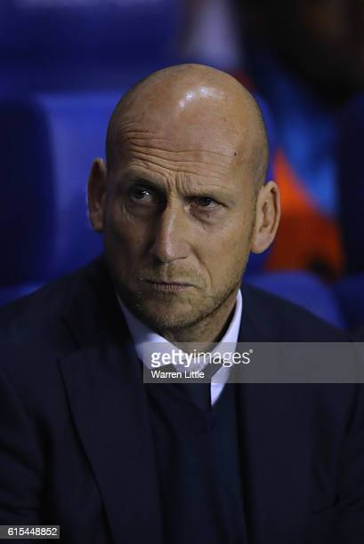 Jaap Stam manager of Reading looks on ahead of the Sky Bet Championship match between Reading and Aston Villa at Madejski Stadium on October 18 2016...