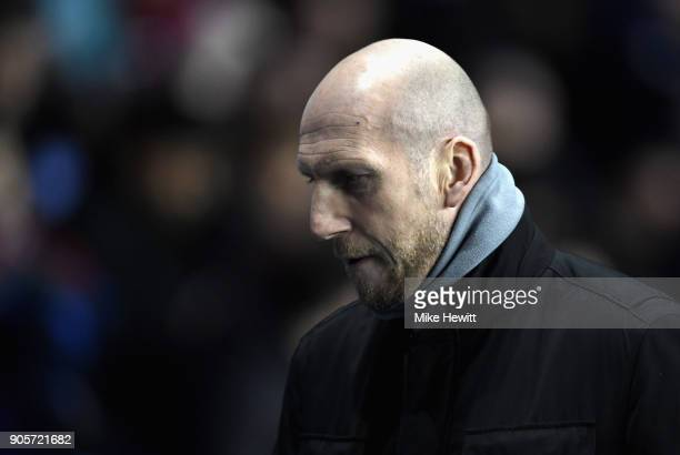 Jaap Stam Manager of Reading looks on during The Emirates FA Cup Third Round Replay match between Reading and Stevenage at Madejski Stadium on...