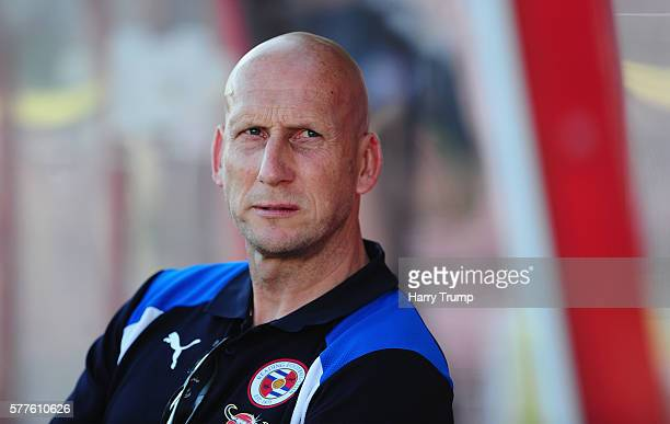 Jaap Stam Manager of Reading looks on during the Pre Season Friendly match between Swindon Town and Reading at the County Ground on July 19 2016 in...