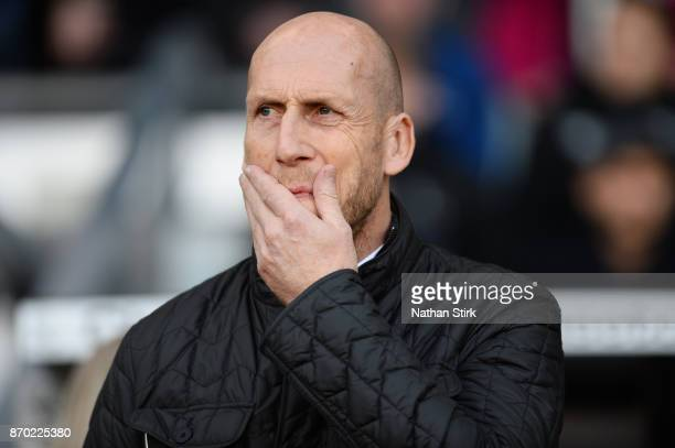 Jaap Stam manager of Reading looks on during the Sky Bet Championship match between Derby County and Reading at iPro Stadium on November 4 2017 in...