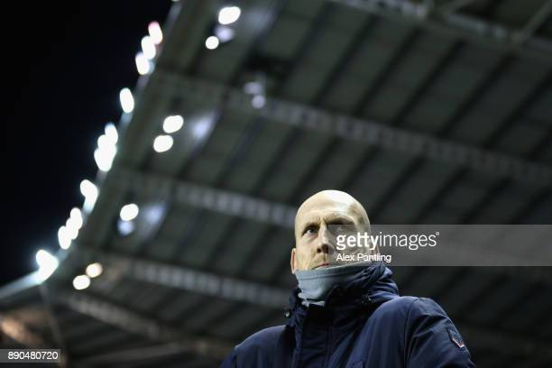 Jaap Stam Manager of Reading looks on during the Sky Bet Championship match between Reading and Cardiff City at Madejski Stadium on December 11 2017...