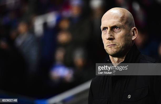 Jaap Stam manager of Reading looks on prior to the Sky Bet Championship match between Reading and Fulham at Madejski Stadium on January 24 2017 in...