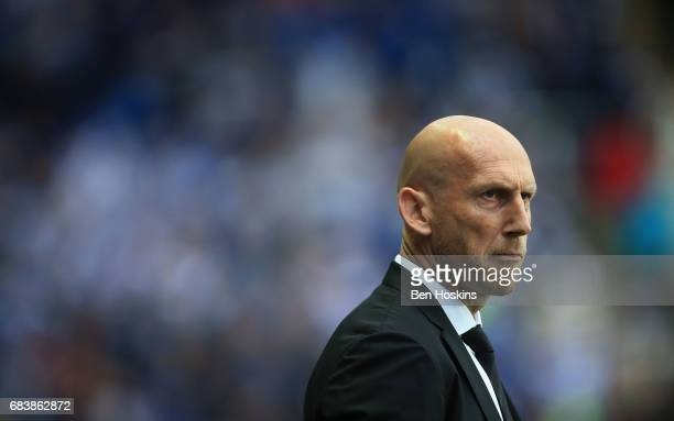 Jaap Stam manager of Reading looks on prior to the Sky Bet Championship Play Off Second Leg match between Reading and Fulham at Madejski Stadium on...