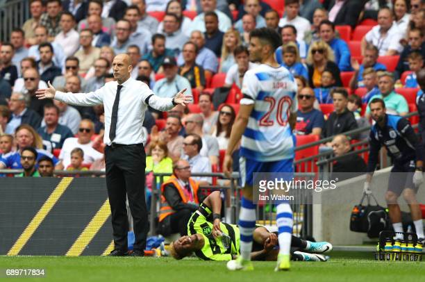 Jaap Stam Manager of Reading reacts during the Sky Bet Championship play off final between Huddersfield and Reading at Wembley Stadium on May 29 2017...