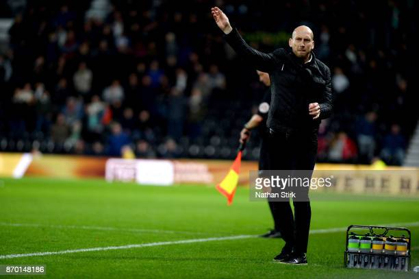 Jaap Stam manager of Reading throws his chewing gum during the Sky Bet Championship match between Derby County and Reading at iPro Stadium on...