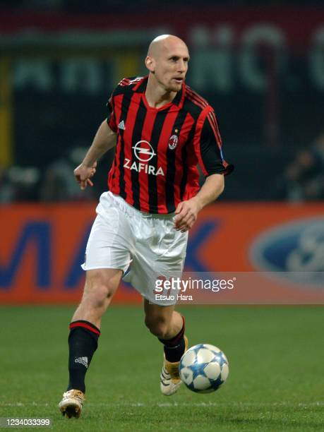 Jaap Stam of AC Milan in action during the UEFA Champions League Round of 16 second leg match between AC Milan and Bayern Munich at the Stadio...